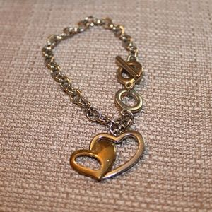 Bracelet Silver tone and Gold Heart
